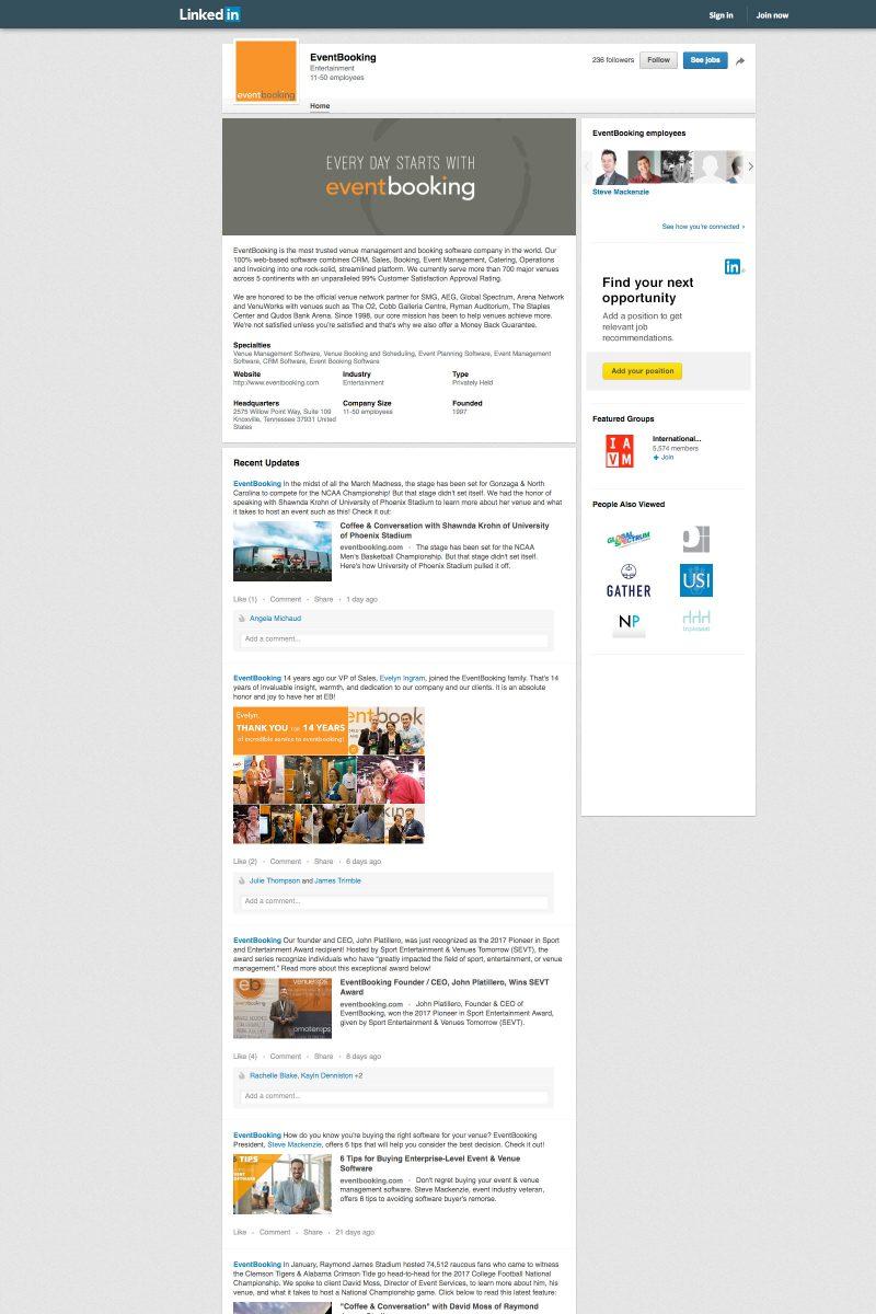 EventBooking VenueOps LinkedIn Profile