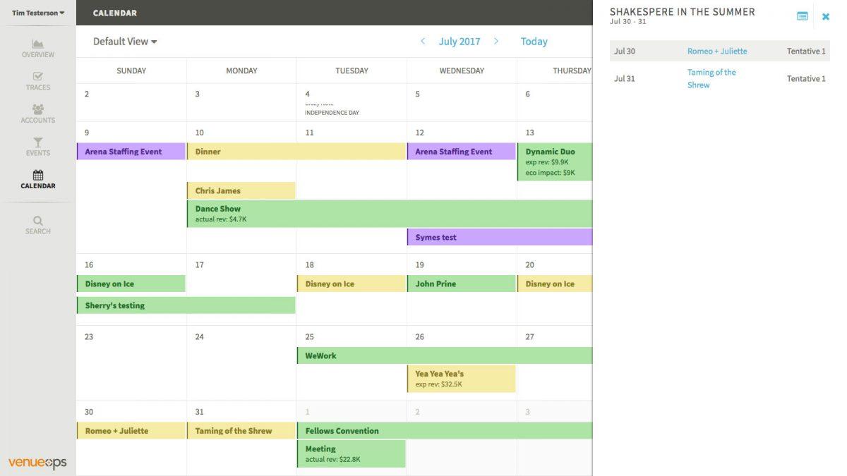 Venue Ops by EventBooking Weekly Calendar